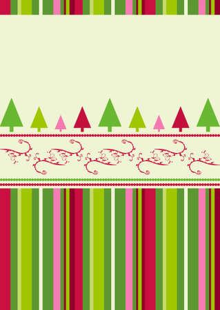 Christmas trees design with simplistic retro shapes on stripes and swirls pattern photo