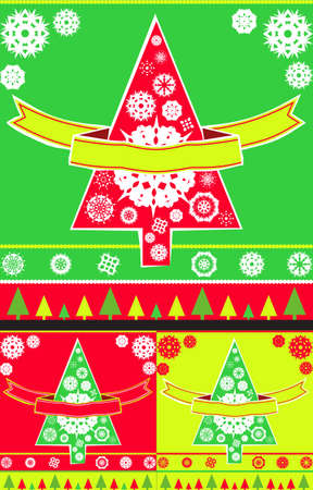 Christmas greeting card cover with Christmas trees, snowflakes and a banner for text, variations in colour, in format photo