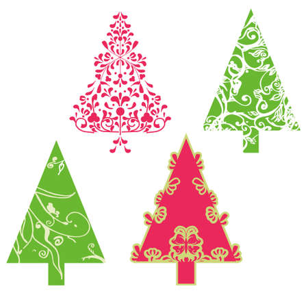 Christmas trees with swirls, scrolls and floral elements and shapes photo