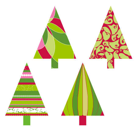 Christmas trees with stripes, swirls and retro elements and shapes