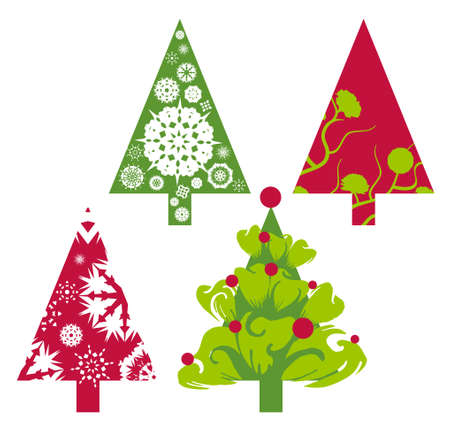 Christmas trees in red and green with floral swirls and snowflakes elements and shapes photo