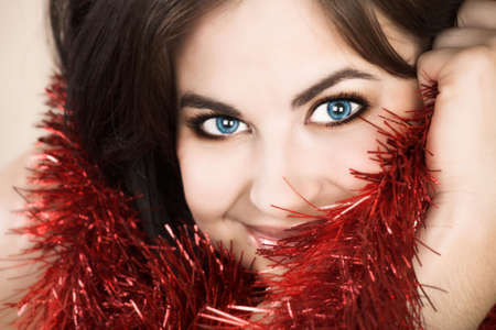 Beautiful woman with long brown hair, long hair and tinsel Stock Photo - 2180163