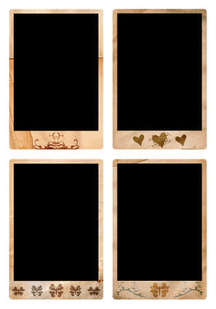 jumbo: Grunge photo borders jumbo size - 10x15cm with swirls, heart and shape designs, clipping path for outside and black space incl Stock Photo