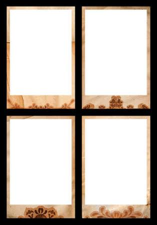 Grunge foto tama�o jumbo fronteras - 10x15cm con remolinos, el coraz�n y dar forma a los dise�os, sin recortar camino para el interior y el espacio negro incl  Foto de archivo - 2180154