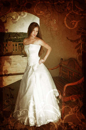 Brunette bride with long hair in sleeveless wedding dress on a balcony next to antique bench with grunge swirls and scrolls background photo