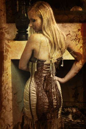 laced: Beautiful blond woman with long blond hair in Victorian laced corset dress in profile on grunge background
