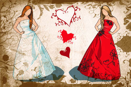 bridesmaid: Grunge brunette bride in white dress and blond bridesmaid in red dress Stock Photo