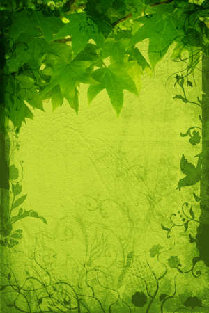 Grunge page with paper and leaf texture, floral borders with swirls, scrolls and nature elements photo