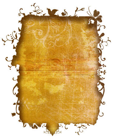 Grunge texture frame with nature flowers and swirls for the edge is included Stock Photo - 2354435