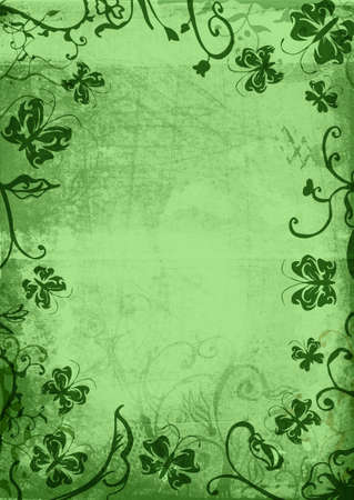 Grunge page with paper texture and floral borders with swirls, scrolls and nature butterfly elements photo