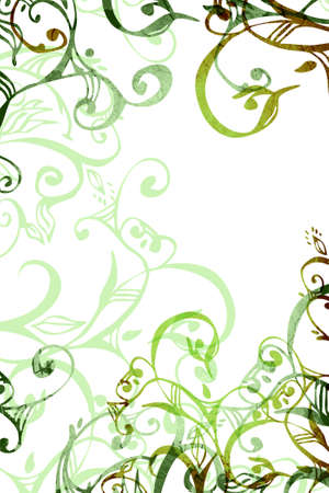 Grunge green floral swirls and scrolls on white background
