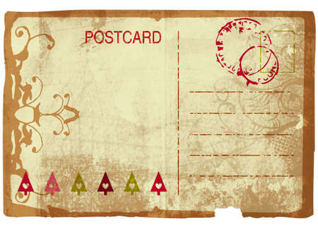 post card: Grunge Christmas post card back with swirl design and rich paper texture Stock Photo