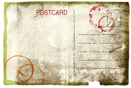 Grunge postcard back with swirl design and rich paper texture Stock Photo