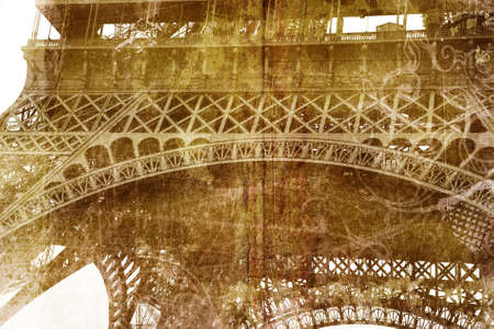 france painted: Grunge Eiffel Tower structure silhouette on painted paper texture with stains and spots