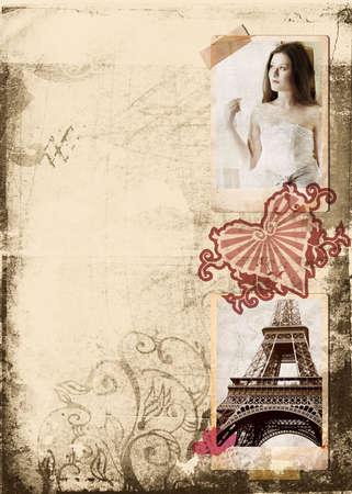 antique woman: Grunge �lbum p�gina con fotos de �poca de la hermosa novia y la Torre Eiffel, coraz�n sello  Foto de archivo