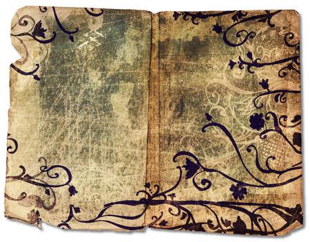 Grunge open book with rich texture and dark floral swirls border