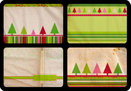jumbo: Grunge set of Christmas tree retro style cards with tree and lines patterns on paper background, each card jumbo size 10x15cm