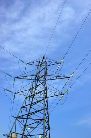 light transmission: Electrical pylone. Power line