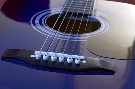 Close up on an acoustic guitar photo