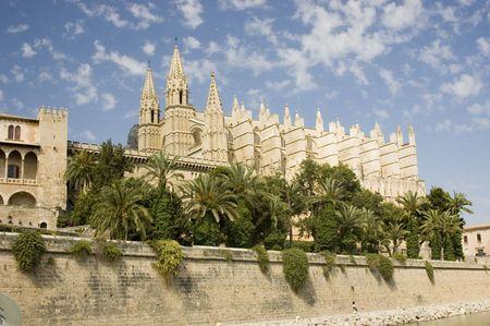 Cath�drale de Palma et fortifications, Palma, Mallorca Banque d'images