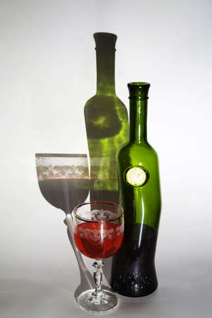 Wine bottle with a glass of wine Stock Photo - 399163