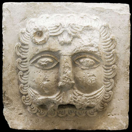 Bas-relief of a lion on a white stone - the end of 12 centuries. A fragment of groove Dmitrievskogo of a cathedral in Vladimir (Russia).