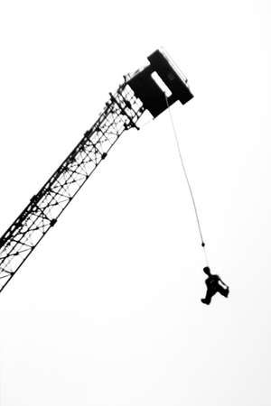 Attraction - a jump from a tower on a rubber plait Stock Photo