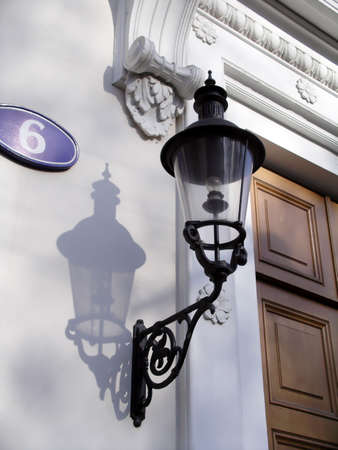 moulding: A street lantern on one of ancient houses in Moscow