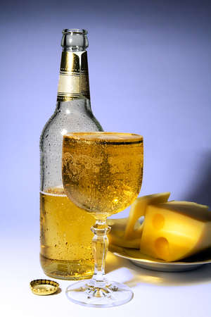 Cold beer and cheese Stock Photo