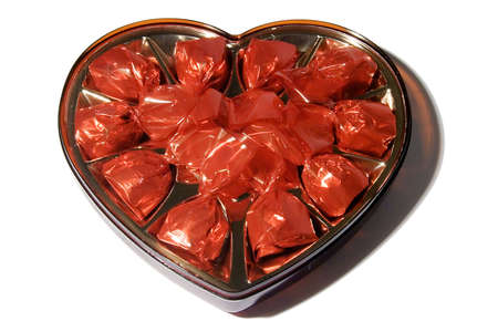 Box in the form of heart with chocolates sweets Stock Photo - 437418