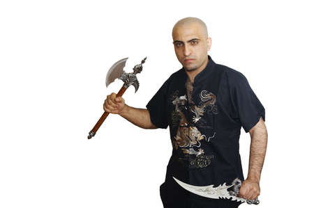 The man with a fantastic axe and a dagger Stock Photo