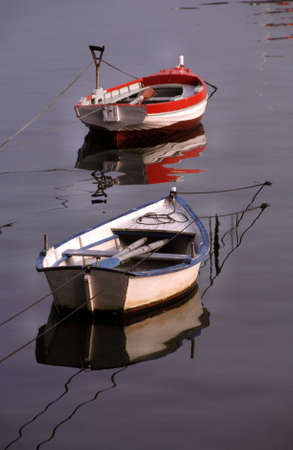 boats of fishers moored in harbor photo