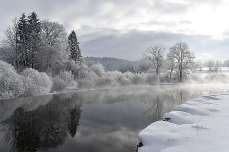 snowy lake Stock Photo