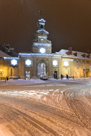 center of Pontarlier in the snow