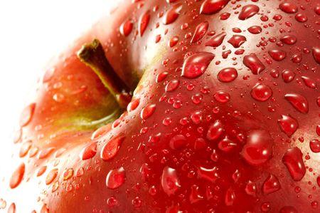 fruitage: Red apple. Macro