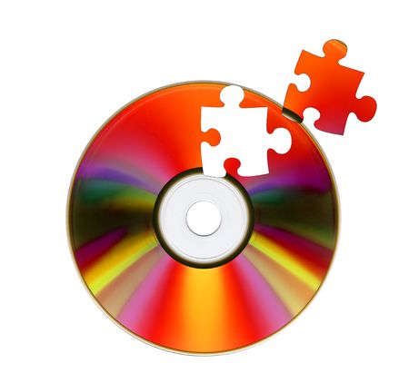dvd rom: CD-ROM and puzzle. Isolated over white background
