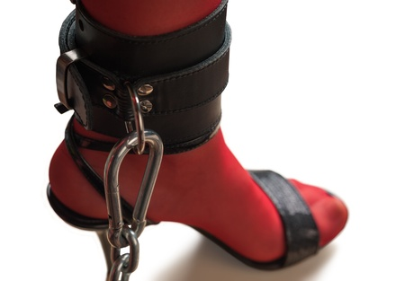 restraining device: Chained Leg in Leather Cuff