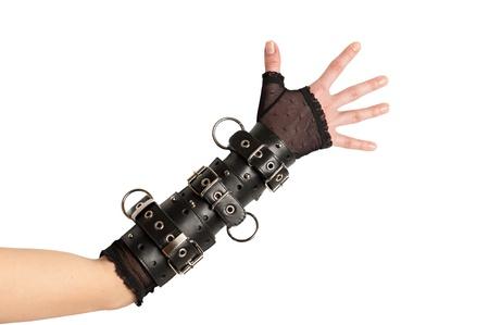 sadomasochism: Arm in Leather Bracelets