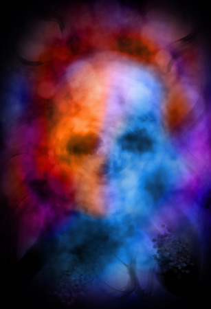 fire skull: Ghostly skull abstract Stock Photo