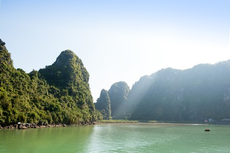 ha: Ha Long bay and green mountains vietnam