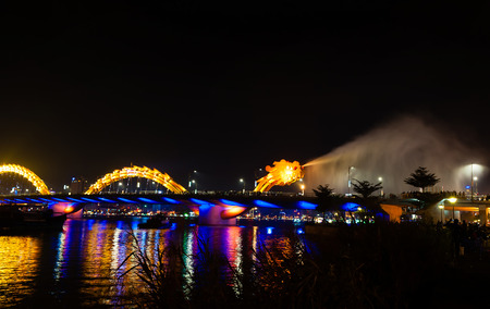 steam jet: Dragon Bridge Night view gush water Danang