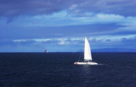 yacht  travel in atlantic ocean Stock Photo