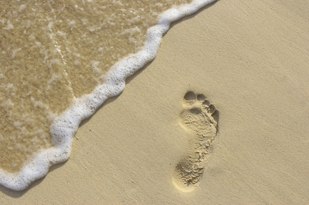 Fun footstep on the coral sandy beach Stock Photo