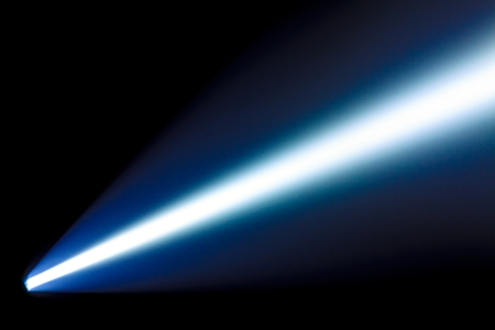 searchlight: Bright beam from the  power flashlight in the dark