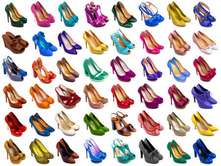 stilleto: Female shoes collection on white background