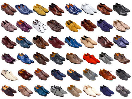 walking shoes: Male shoes collection on white background Stock Photo