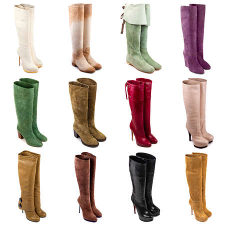 stilleto: Female boots collection on white background