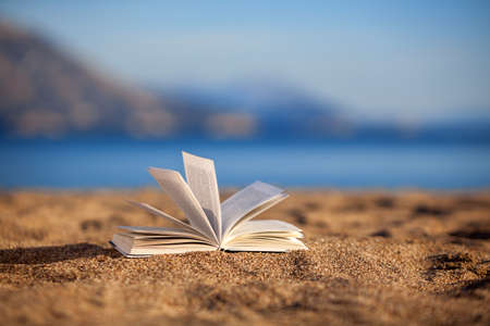 libro abierto: Abra el libro en una playa