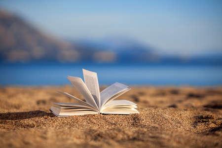 copy book: Open book on a beach