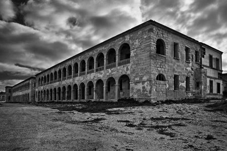 barracks: The dilapidated Naval Barracks at Fort Ricasoli in Malta
